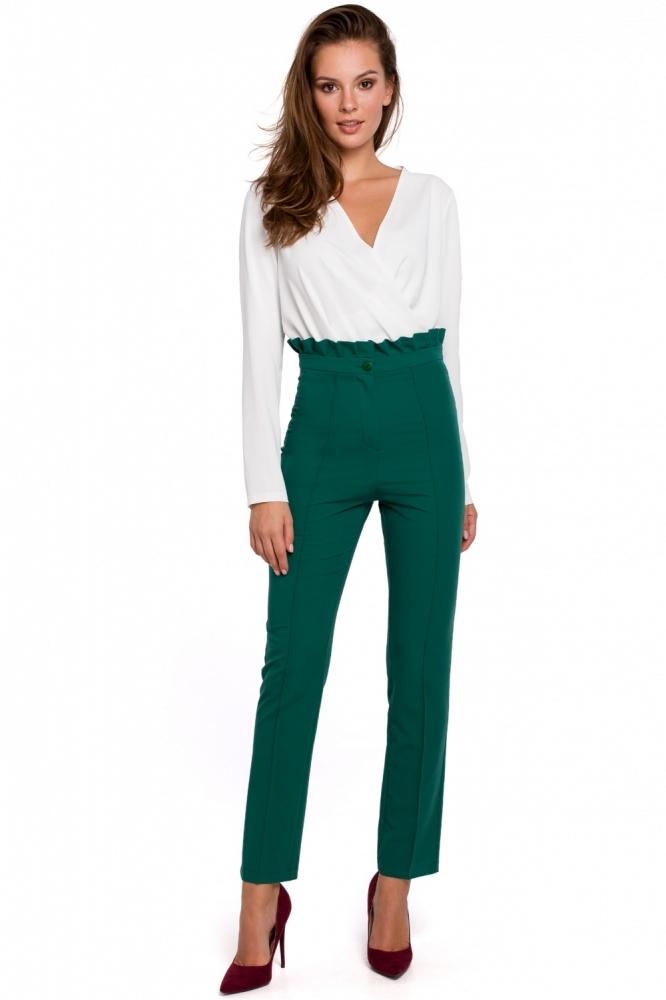 Pantaloni eleganti talie inalta Model 138523 Makover verde