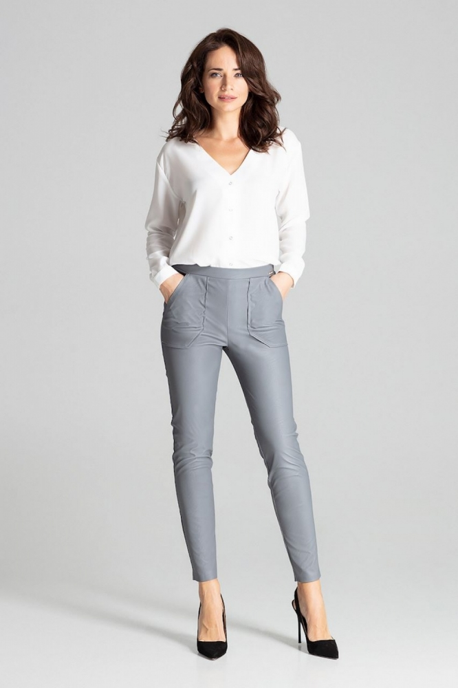 Pantaloni piele ecologica Model 139336 Lenitif gri