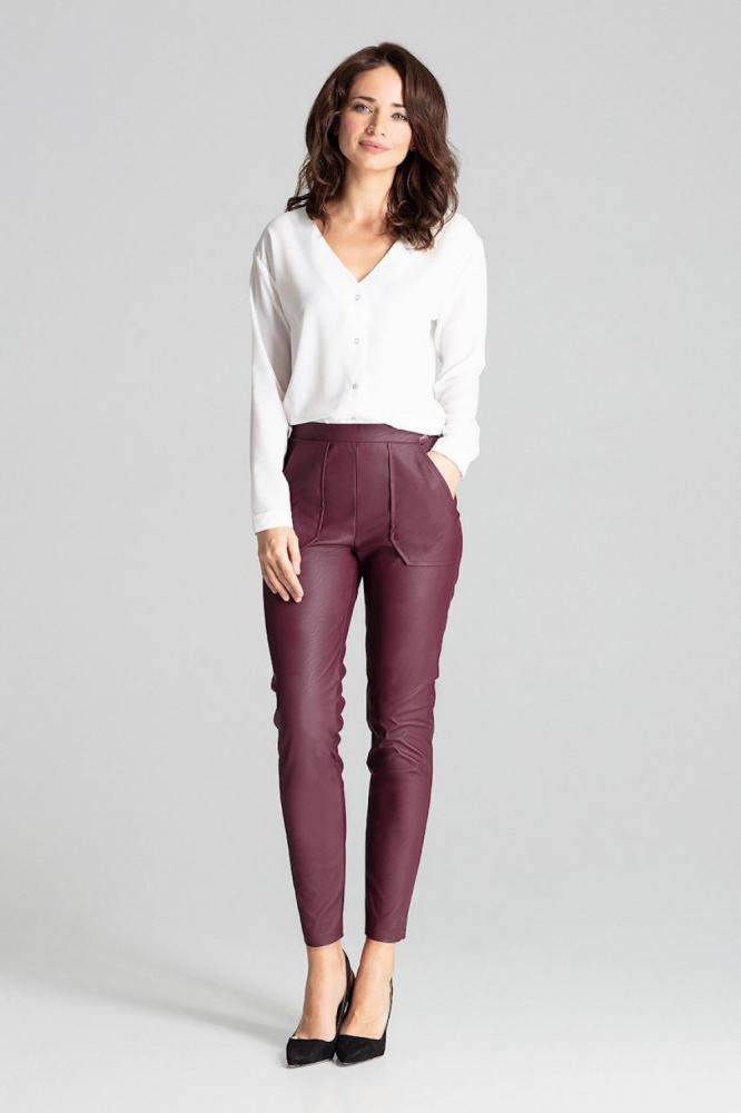 Pantaloni piele ecologica Model 139337 Lenitif rosu