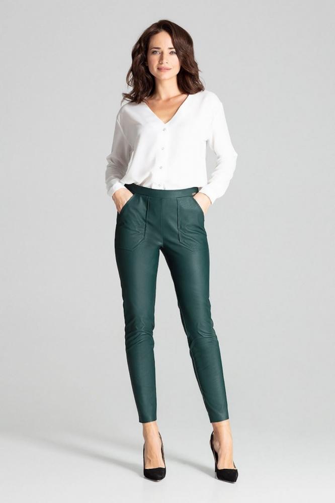 Pantaloni piele ecologica Model 139338 Lenitif verde