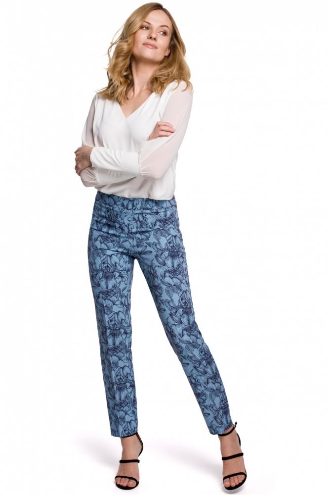 Pantaloni imprimeu flori Model 142978 Makover albastru