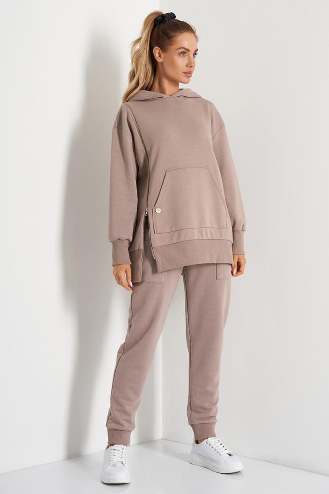 Pantaloni sport conici cu talie inalta Model 157693 Lemoniade bej
