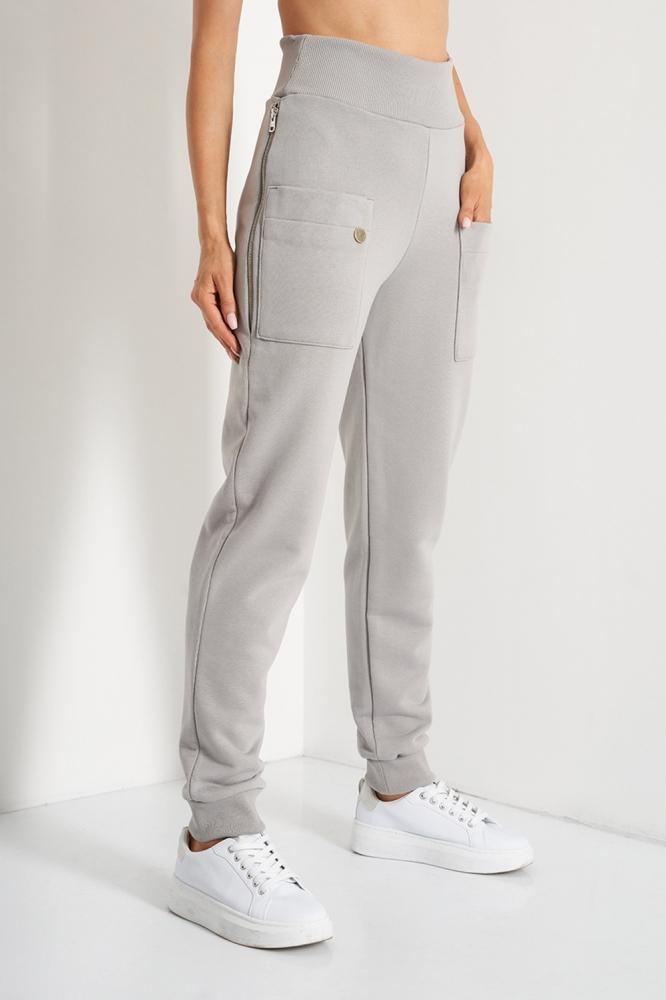 Pantaloni sport conici cu talie inalta Model 157694 Lemoniade gri