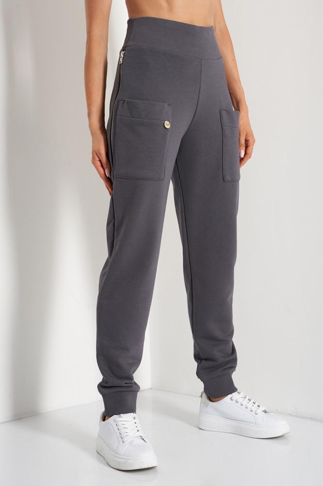 Pantaloni sport conici cu talie inalta Model 157695 Lemoniade gri