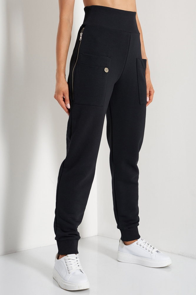 Pantaloni sport conici cu talie inalta Model 157696 Lemoniade negru