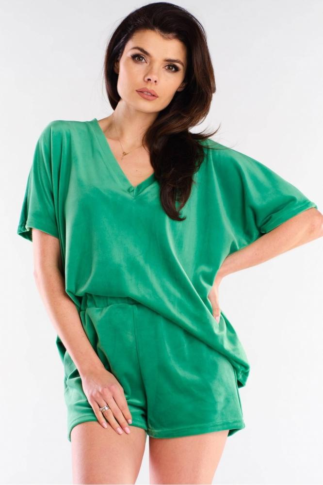 Pantaloni scurti catifea Model 154794 awama verde