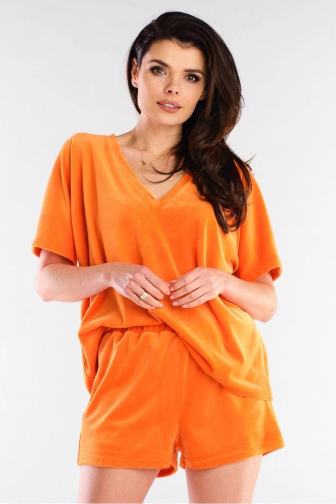 Pantaloni scurti catifea Model 154796 awama portocaliu