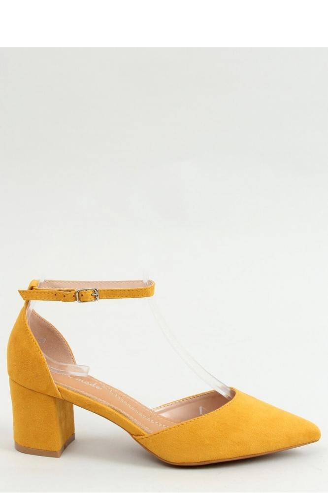 Pantofi cu toc gros mic Model 154404 Inello galben