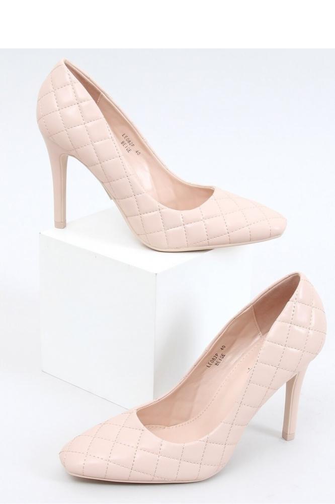 Pantofi cu toc subtire (stiletto) model 152255 Inello bej
