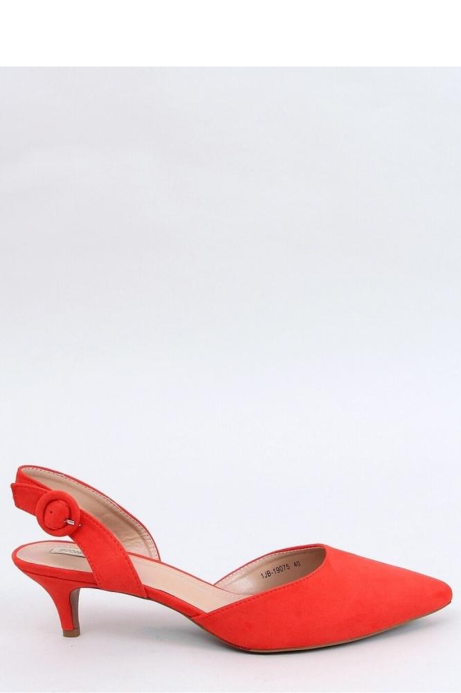 Pantofi cu toc mic decupati la spate Model 153950 Inello portocaliu