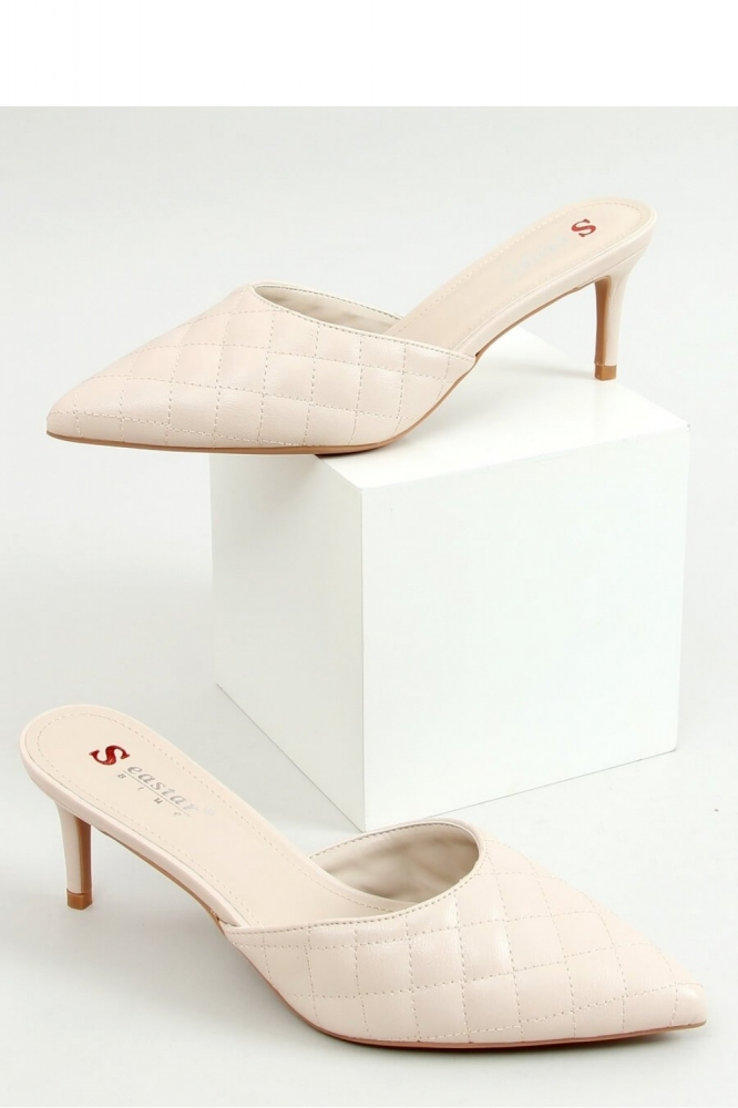 Pantofi cu toc subtire (stiletto) model 155101 Inello bej