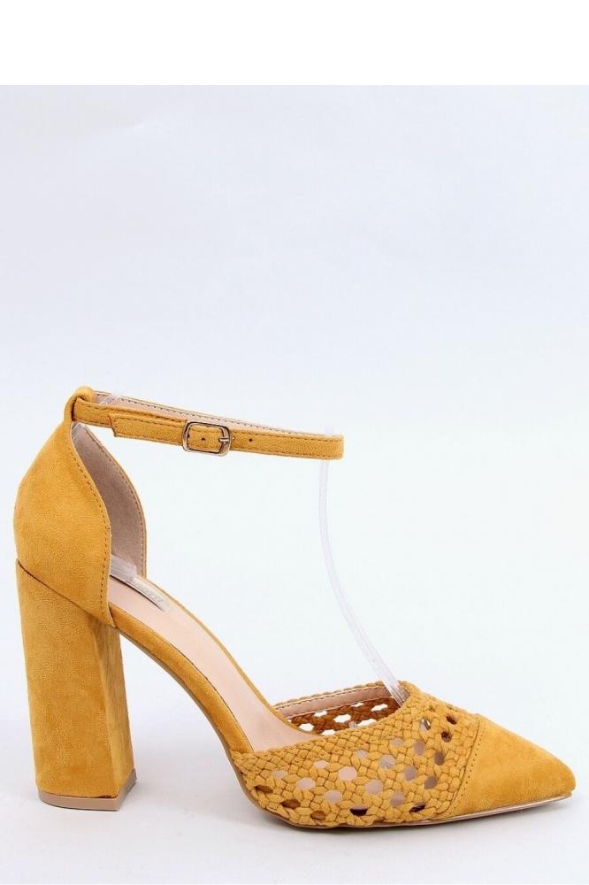 Pantofi cu toc gros Model 154004 Inello galben