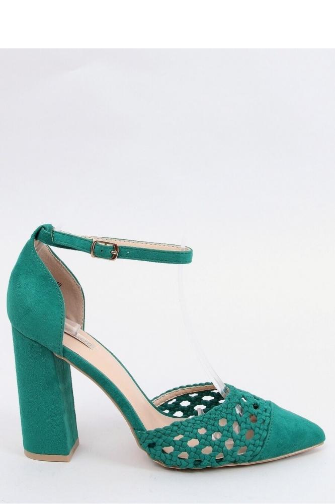 Pantofi cu toc gros Model 154005 Inello verde