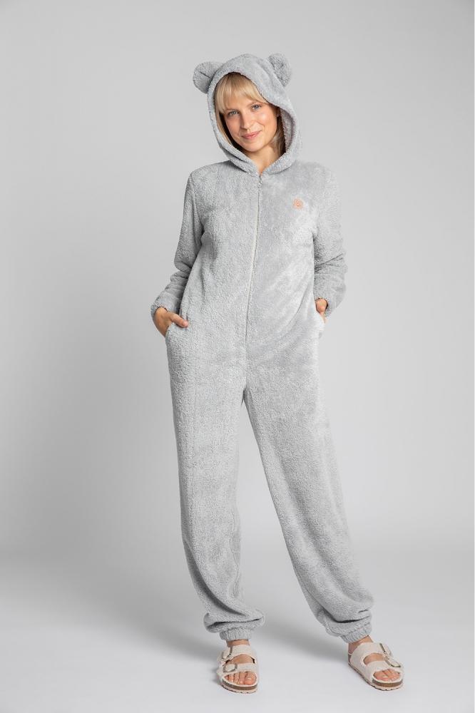 Pijama pufoasa cu gluga cu urechi Model 150650 LaLupa gri