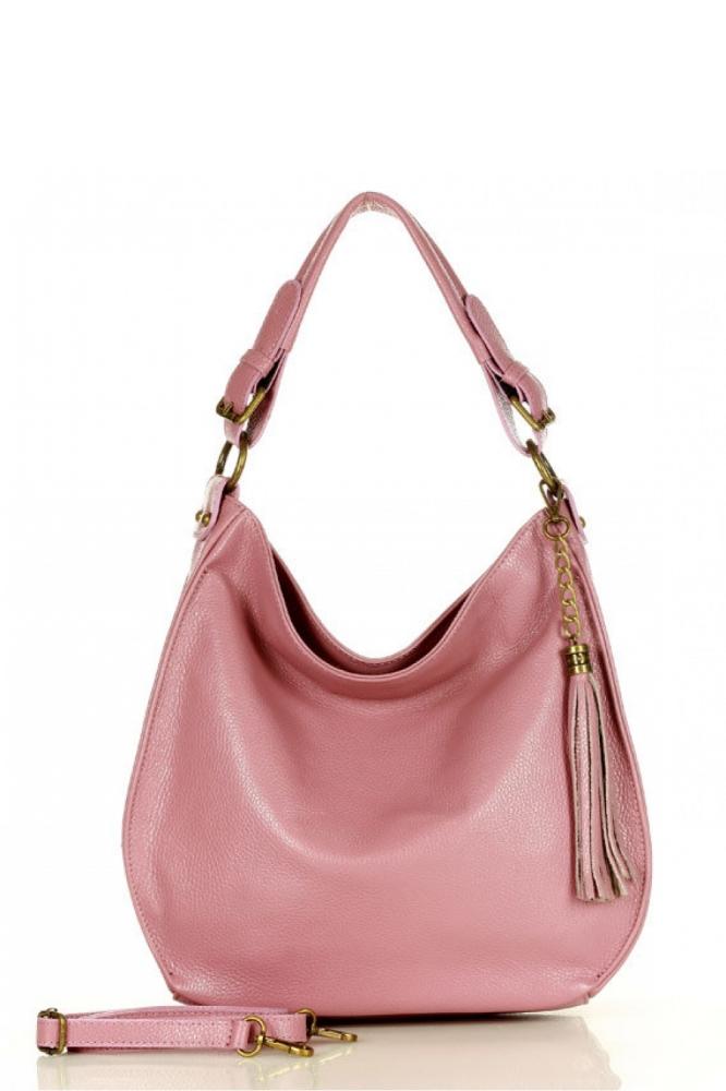 Poseta din piele naturala model 157872 Mazzini roz