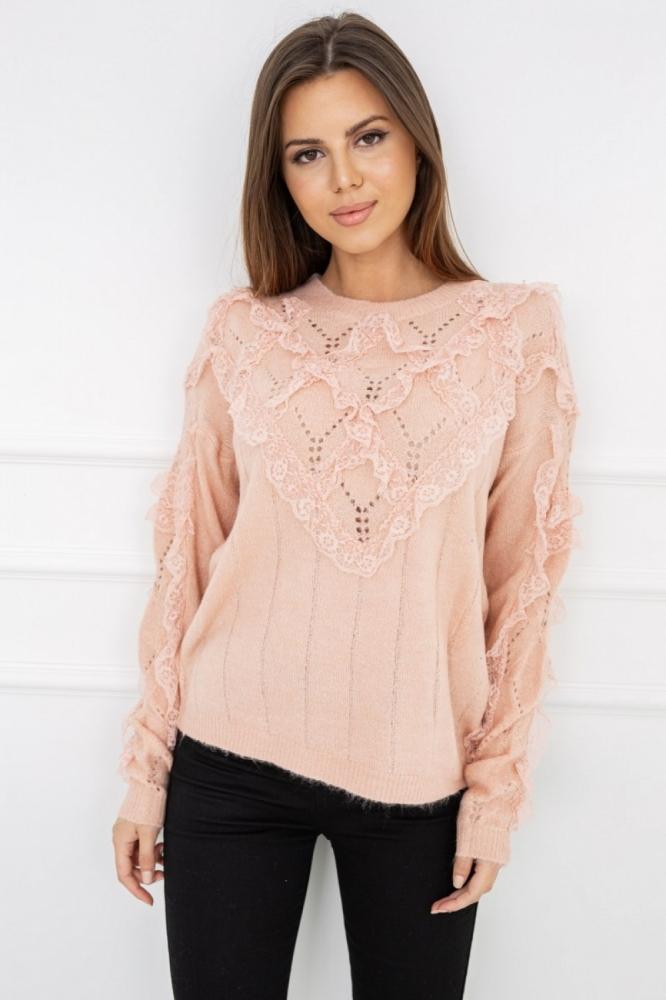 Pulover elegant cu dantela Model 150365 Vittoria Ventini roz