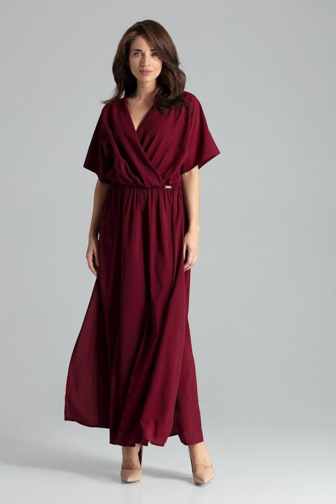 Rochie lunga plisata Model 135890 Lenitif rosu
