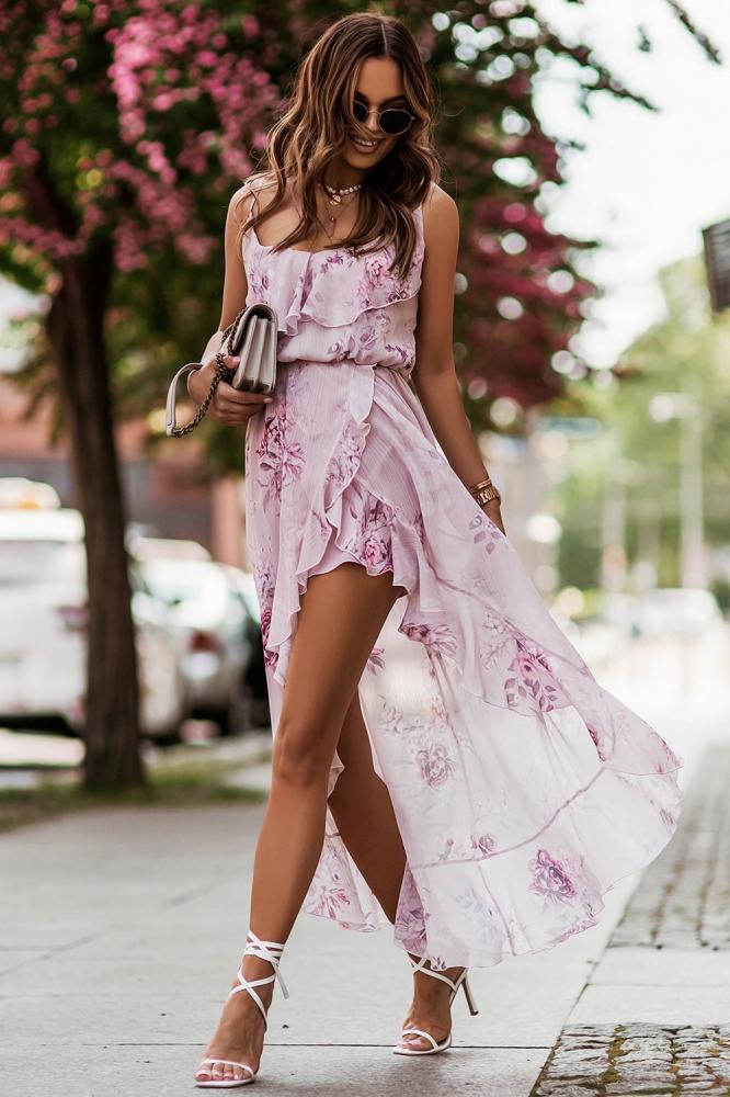 Rochie mai lunga la spate Model 156695 IVON roz