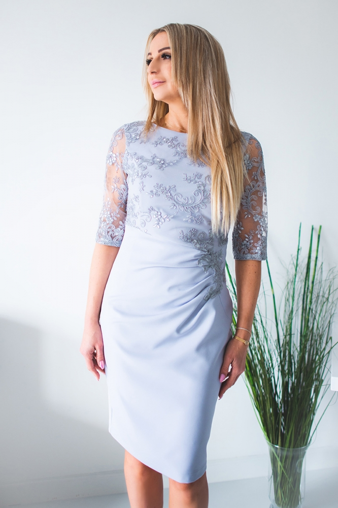 Rochie eleganta model 131429 Jersa gri