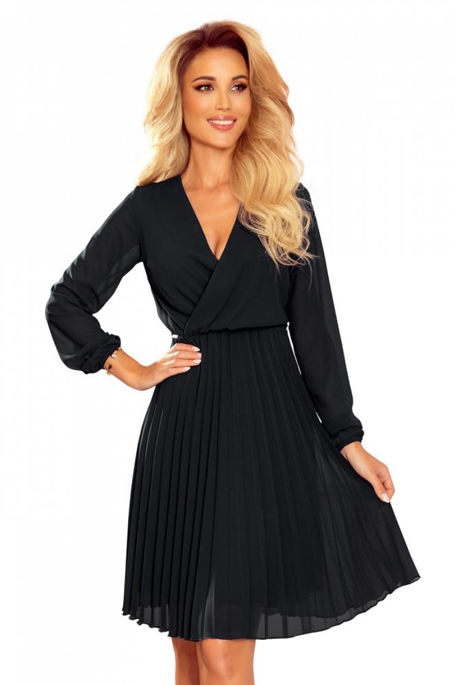Rochie eleganta midi plisata Model 151980 Numoco negru