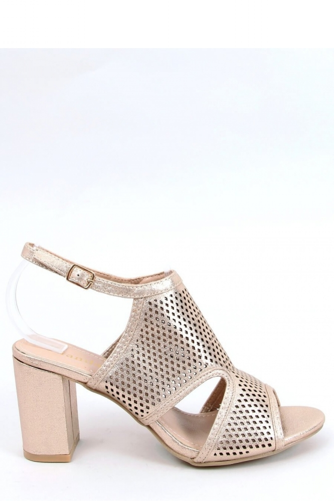 Sandale cu toc gros Model 154007 Inello galben