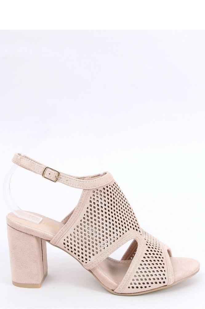 Sandale cu toc gros Model 154009 Inello bej