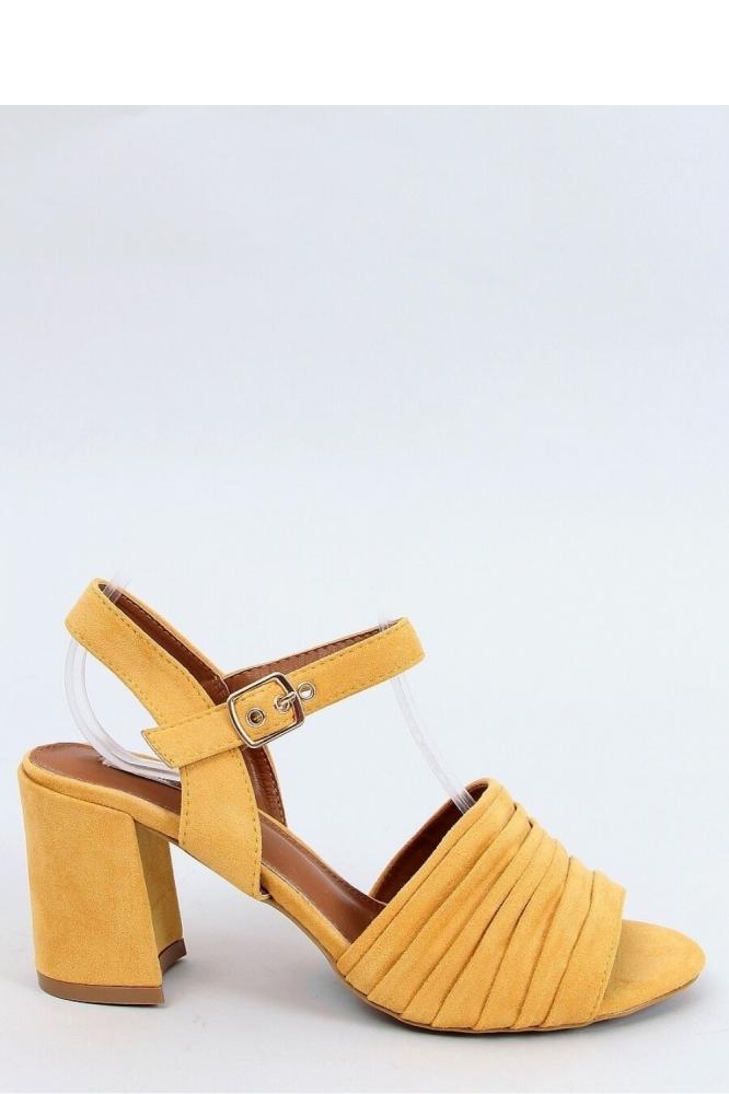 Sandale elegante cu toc gros Model 154012 Inello galben