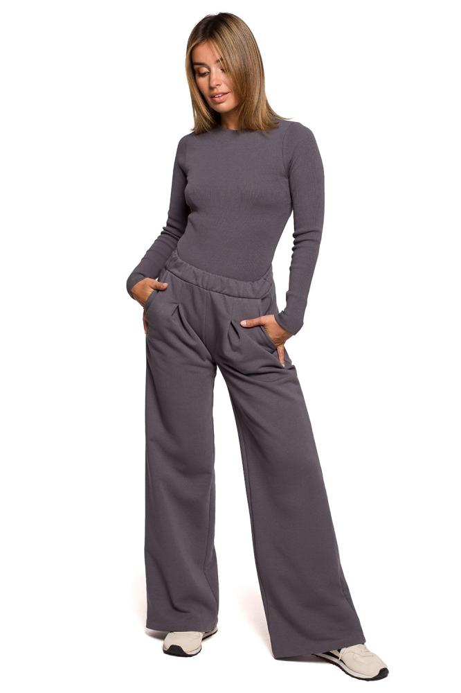 Pantaloni evazati talie inalta Model B200 Antracyt - BE gri