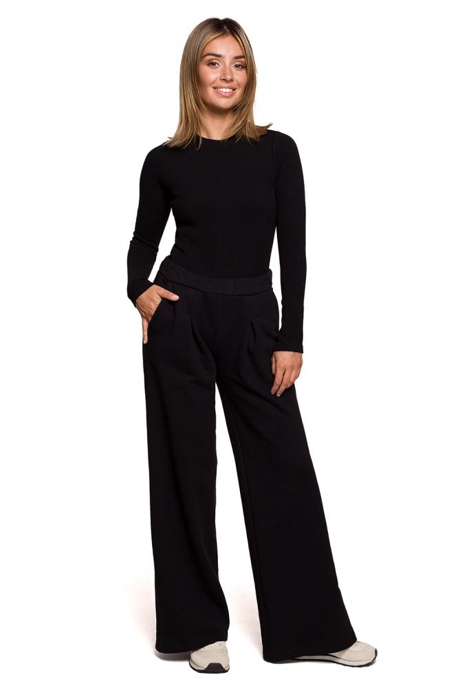 Pantaloni evazati talie inalta Model B200 Black - BE negru
