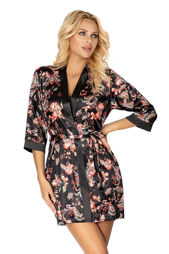 Camasa de noapte satin imprimeu floral Model Paris Black - Donna negru
