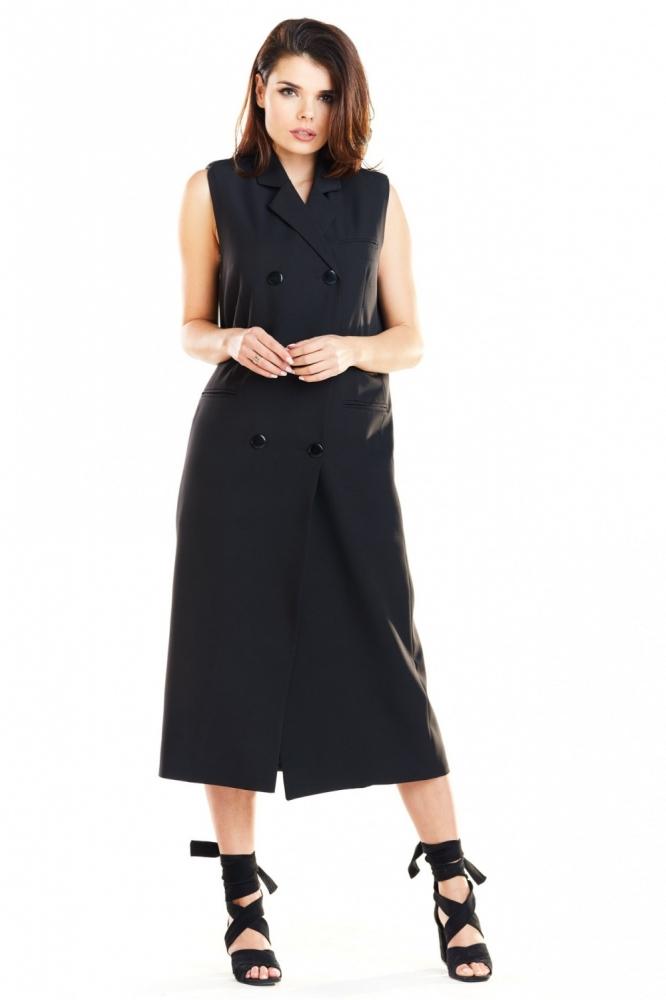 Vesta eleganta lunga Model 139943 awama negru
